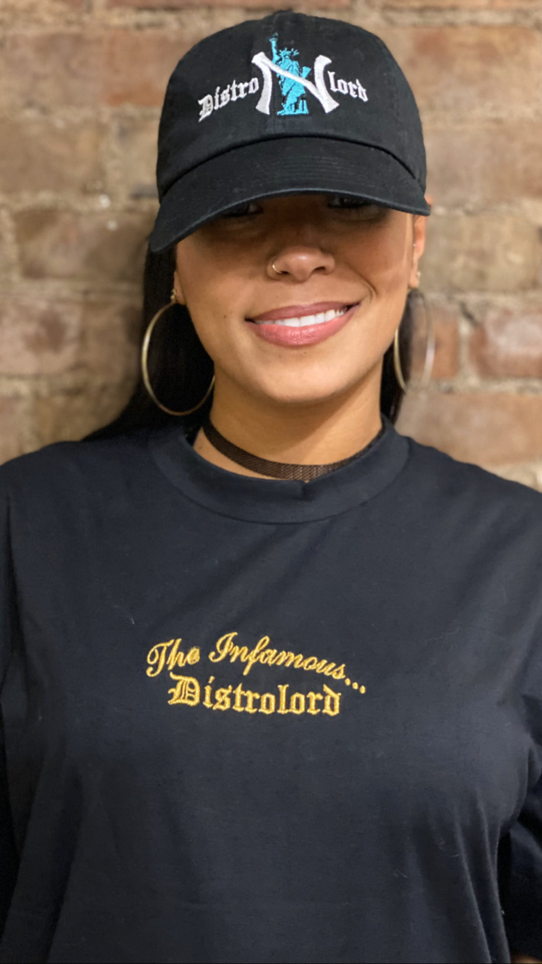 "THE INFAMOUS DISTROLORD ""BLACK"" T SHIRT ( GOLD TEXT )"