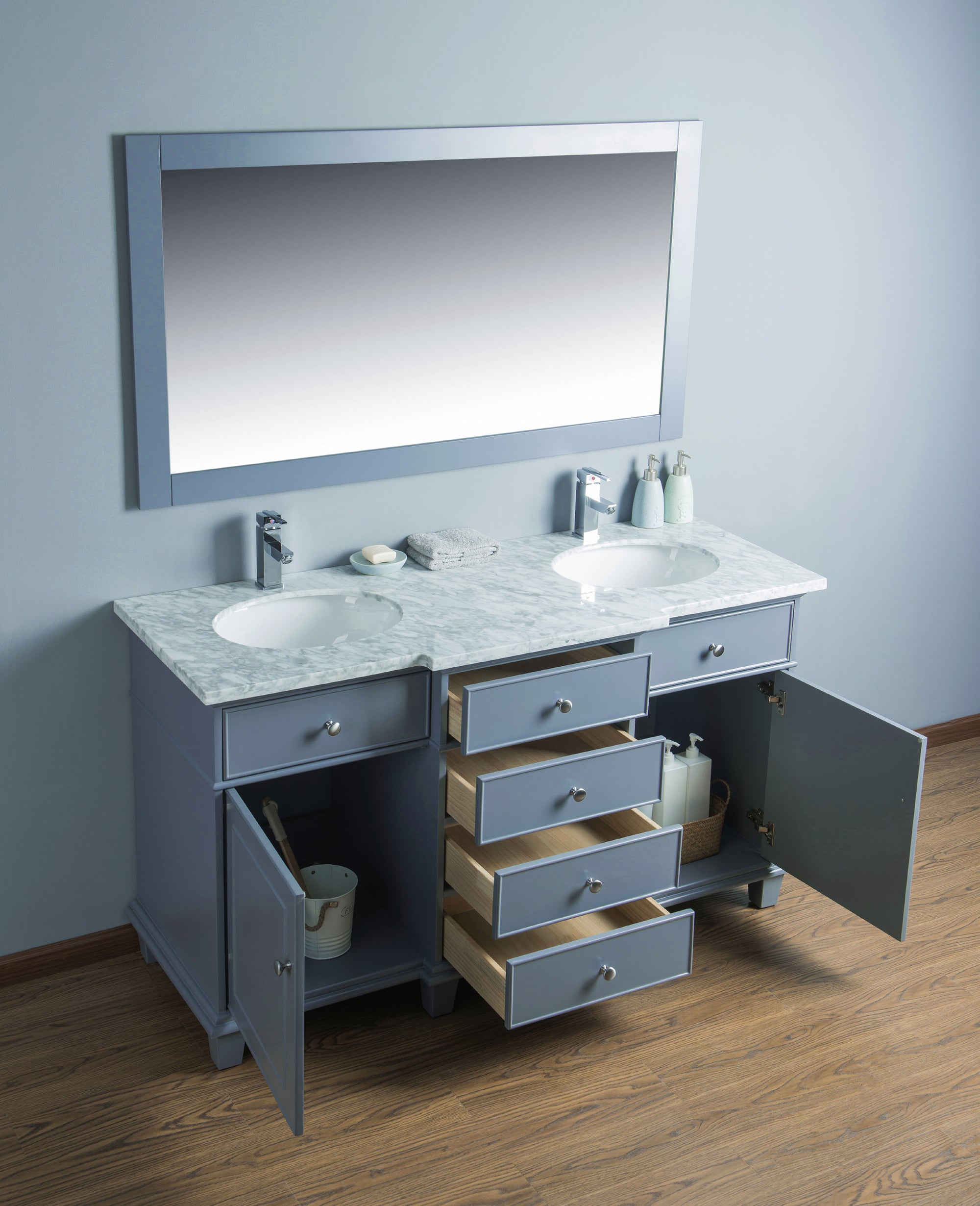 Stufurhome Cadence Grey 60 Inch Double Sink Bathroom Vanity With Mirro Overflair