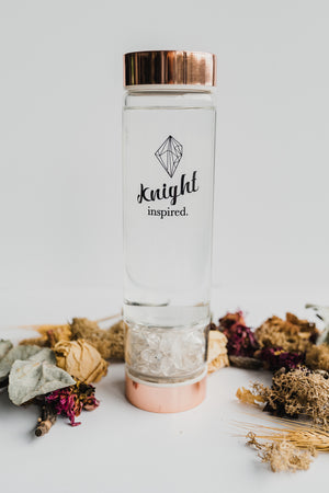 Crystal Elixir Water Bottle - Rose Gold with Gem Chamber