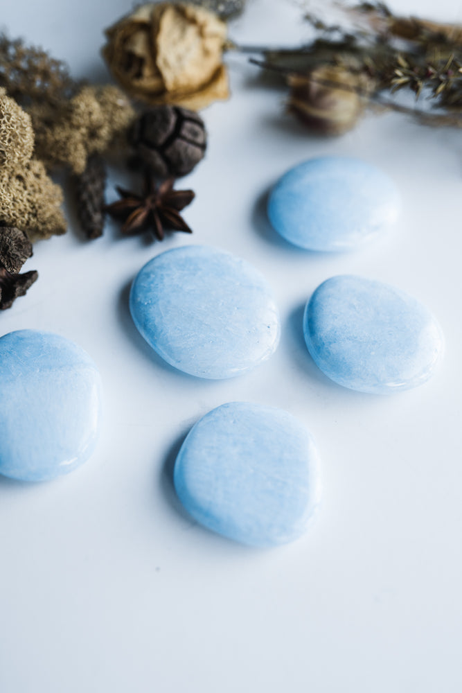 Blue Aragonite Palm Stone