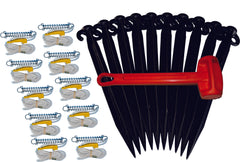 Pack of 10 x 490mm Black Tent Pegs with 10  Single Guy Ropes with Hammer