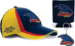Adelaide Crows AFL Cap Keyring and Can Cooler Pack