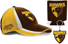 Hawthorn Hawks AFL Cap Keyring and Can Cooler Pack