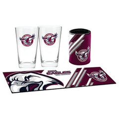 Manly Sea Eagles NRL Bar Essentials Gift Pack with Glasses Cooler and Bar Mat