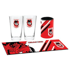 St. George Dragons NRL Bar Essentials Gift Pack with Glasses Cooler and Bar Mat