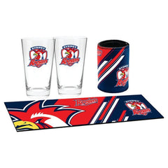 Sydney Roosters NRL Bar Essentials Gift Pack with Glasses Cooler and Bar Mat