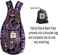 Back Pack Compact for Travelling Purple Ikat