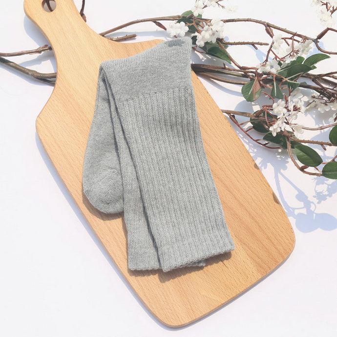 Love Your Socks Womens Ribbed Cotton Long Bed Socks Grey