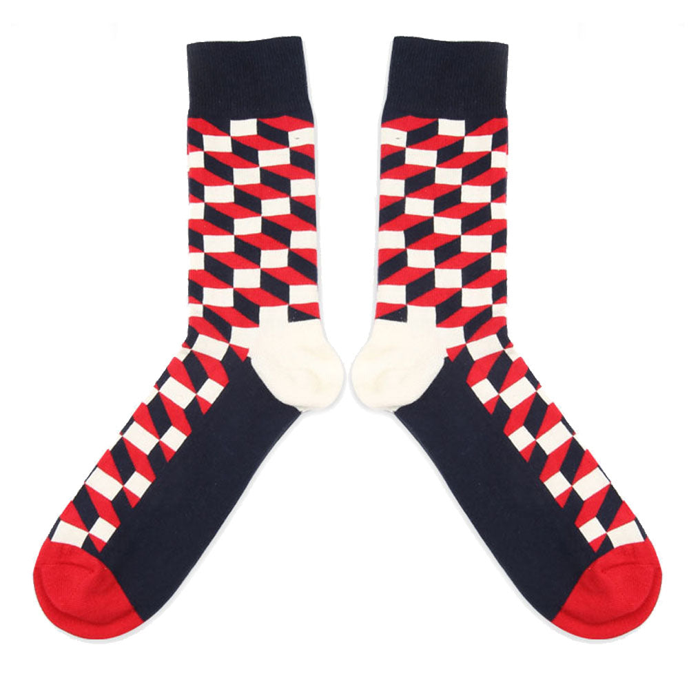 Love Your Socks Mens 3D Cube Cotton Ankle Socks Red