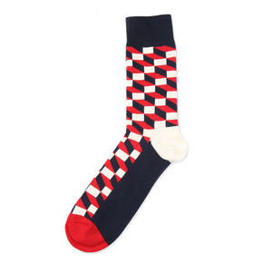 Love Your Socks Mens 3D Cube Cotton Ankle Socks Red Single