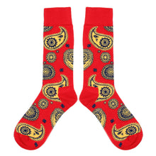 Load image into Gallery viewer, Love Your Socks Mens Paisley Print Cotton Ankle Socks Red