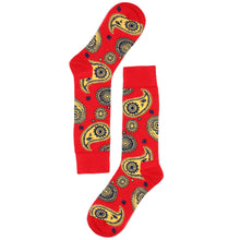 Load image into Gallery viewer, Love Your Socks Mens Paisley Print Cotton Ankle Socks Red Double