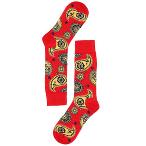 Love Your Socks Mens Paisley Print Cotton Ankle Socks Red Double