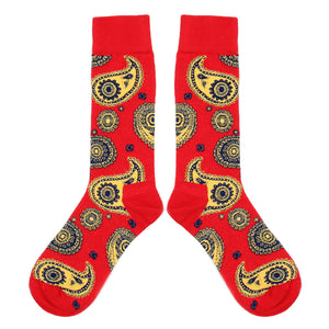 Love Your Socks Mens Paisley Print Cotton Ankle Socks Red