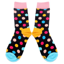 Load image into Gallery viewer, Love Your Socks Mens Spot Cotton Ankle Socks Black