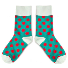 Load image into Gallery viewer, Love Your Socks Womens Big Dots Cotton Ankle Socks Green