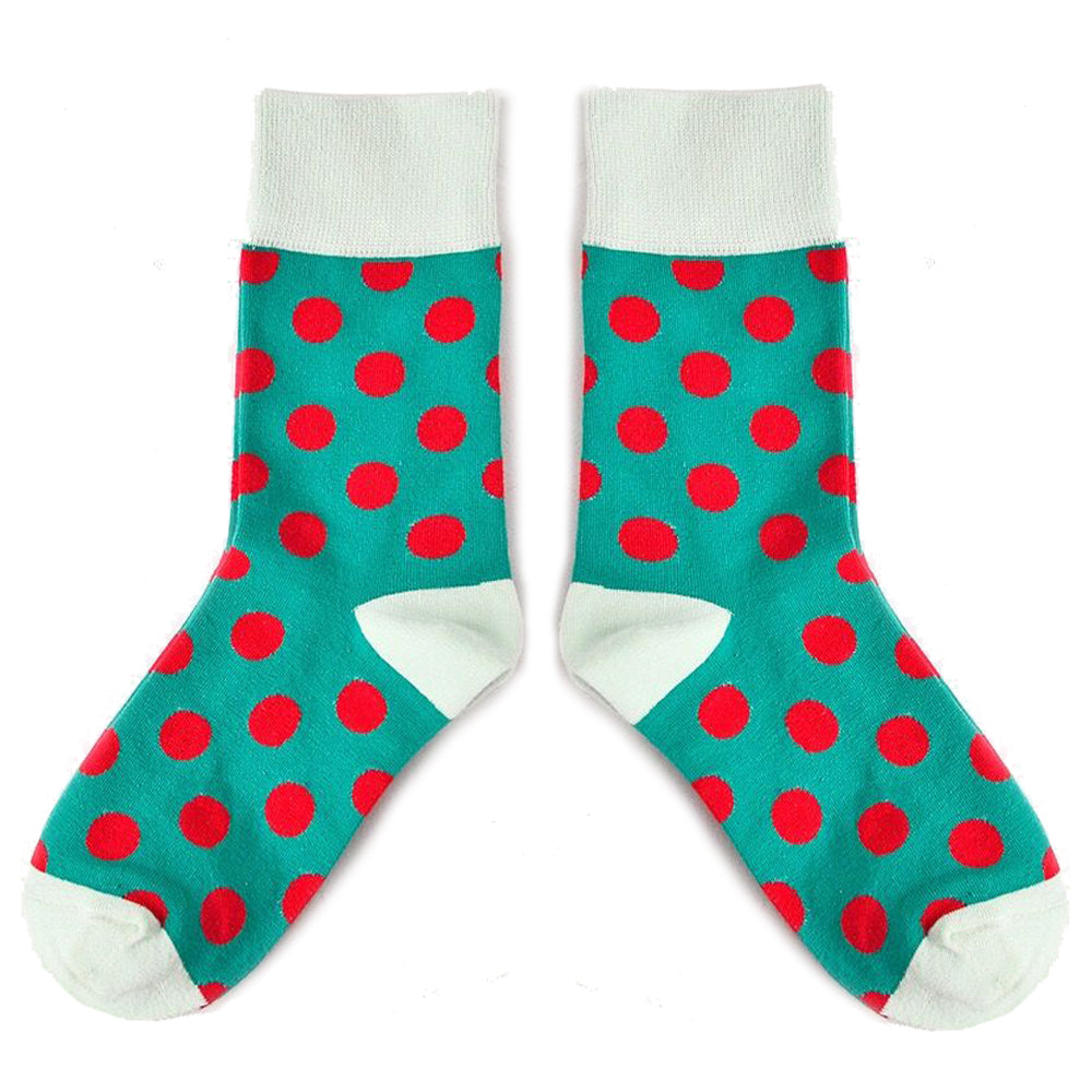 Love Your Socks Womens Big Dots Cotton Ankle Socks Green