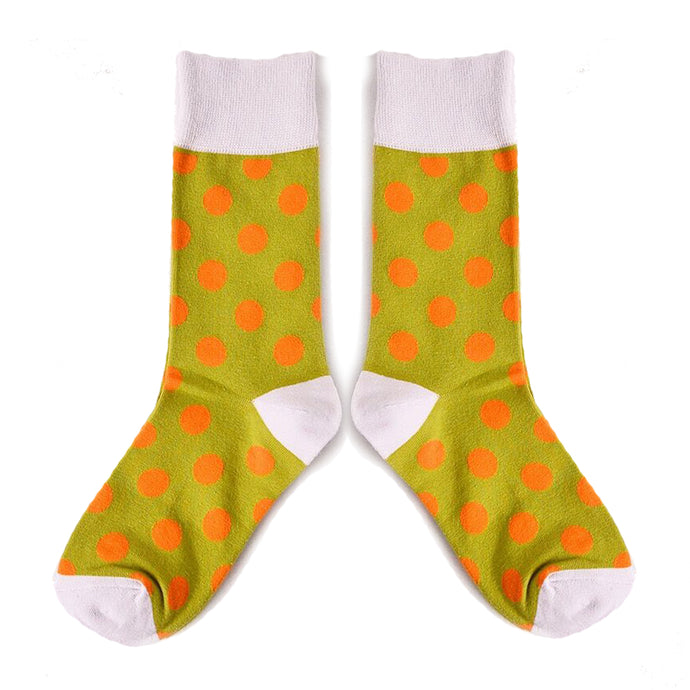 Love Your Socks Womens Big Dots Cotton Ankle Socks Yellow