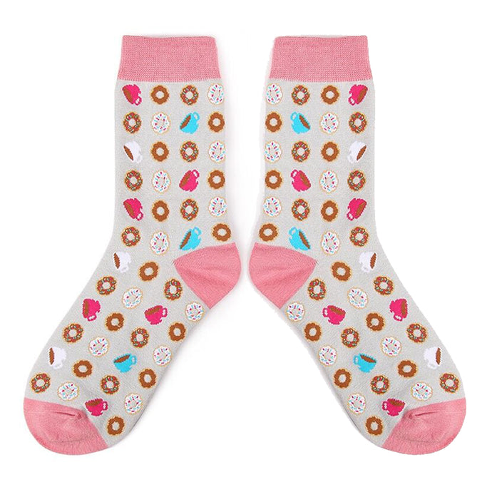 Love Your Socks Womens Coffee Cake Break Cotton Ankle Socks Grey