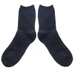 Love Your Socks Womens Terry Cotton Ankle Bed Socks Navy Blue
