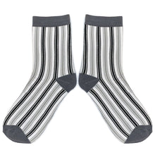 Load image into Gallery viewer, Love Your Socks Womens Vertical Stripe Cotton Ankle Socks Charcoal Grey