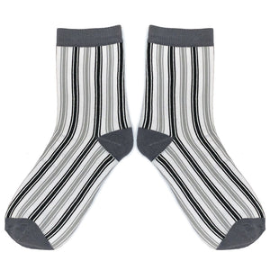 Love Your Socks Womens Vertical Stripe Cotton Ankle Socks Charcoal Grey
