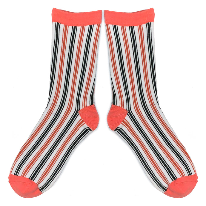 Love Your Socks Womens Vertical Stripe Cotton Ankle Socks Pink