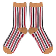 Load image into Gallery viewer, Love Your Socks Womens Vertical Stripe Cotton Ankle Socks Mustard Yellow