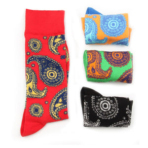 Love Your Socks Mens Paisley Print Cotton Ankle Socks Red Fully Collection