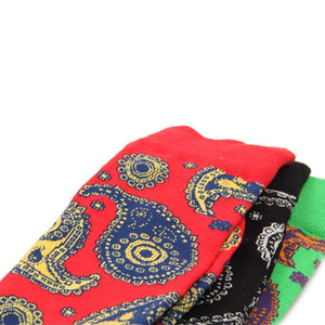 Love Your Socks Mens Paisley Print Cotton Ankle Socks Red Flat Collection