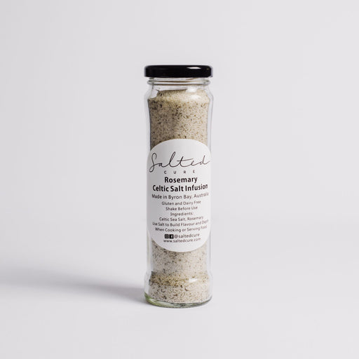 Gourmet salt infusion made in Byron Bay with local produce. Rosemary Celtic Salt Infusion by Salted Cure is perfect as a meat rub, a gourmet gift, and to enhance the flavours of any meal.