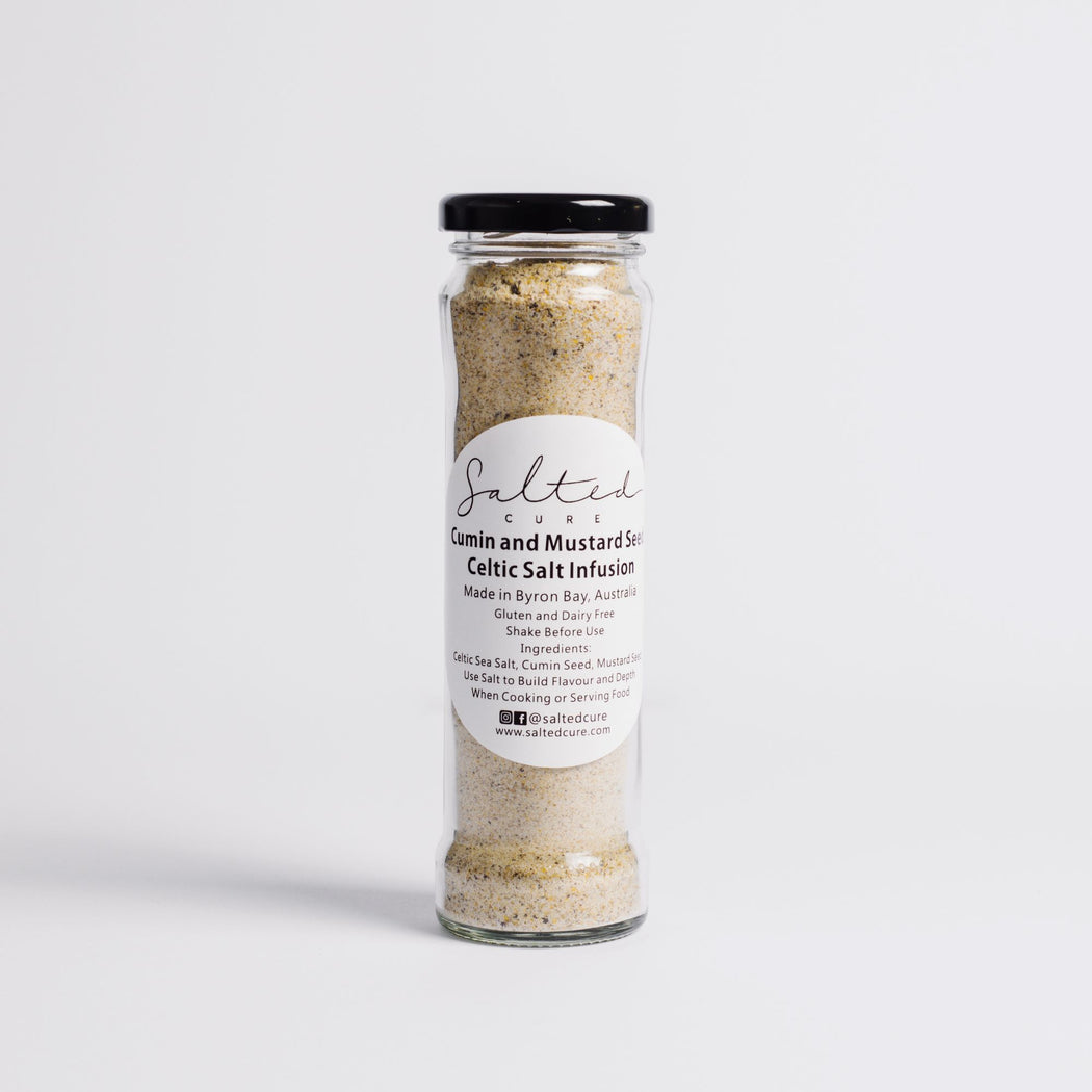 Gourmet salt infusion made in Byron Bay with local produce. Cumin and Mustard Seed Celtic Salt Infusion by Salted Cure is perfect as a meat rub, a gourmet gift, and to enhance the flavours of any meal.