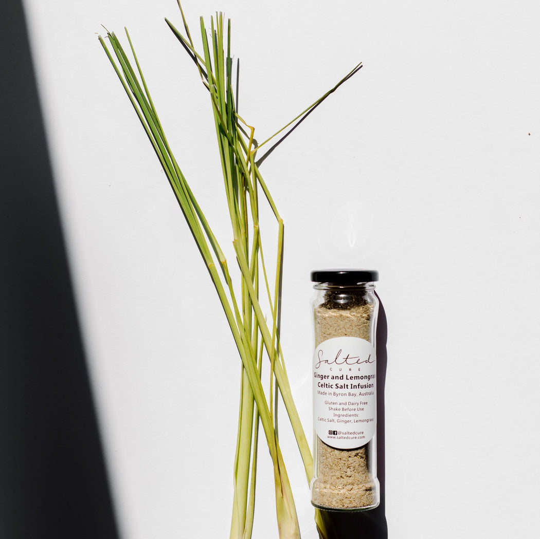 Gourmet salt infusion made in Byron Bay with local produce. Ginger & Lemongrass Celtic Salt Infusion by Salted Cure is perfect as a meat rub, a gourmet gift, and to enhance the flavours of any meal.