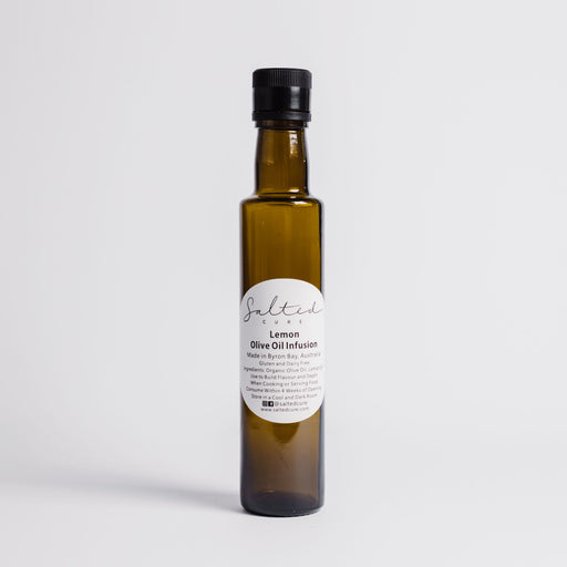 Gourmet oil infusion made in Byron Bay with local produce. Lemon Olive Oil Infusion by Salted Cure is perfect when cooking meat, a gourmet gift, and to enhance the flavours of any meal.