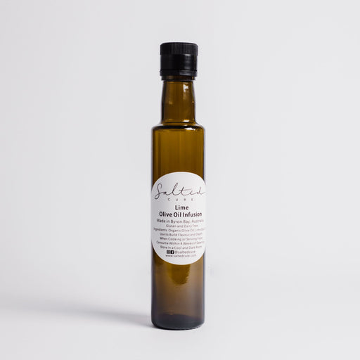 Gourmet oil infusion made in Byron Bay with local produce. Lime Olive Oil Infusion by Salted Cure is perfect when cooking meat, a gourmet gift, and to enhance the flavours of any meal.