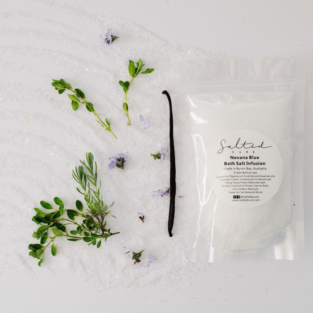 Luxury bath salt infusions made in Byron Bay with local produce. Nevana Blue Bath Salt Infusion by Salted Cure is a soothing and relaxing blend of Magnesium Sulphate and essential oils. Relax with Salted Cure bath salt infusions.