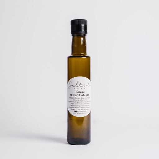 Gourmet oil infusion made in Byron Bay with local produce. Porcini Olive Oil Infusion by Salted Cure is perfect when cooking meat, a gourmet gift, and to enhance the flavours of any meal.