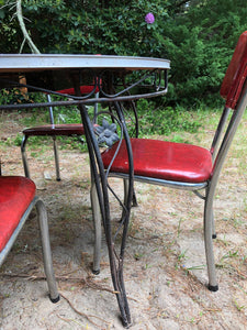 1950s-1960s Marbled Dining Set w/ 4 Chairs + 2 Leafs