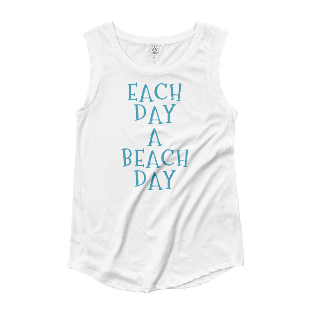 Each Day A Beach Day Ladies' Cap Sleeve Tee
