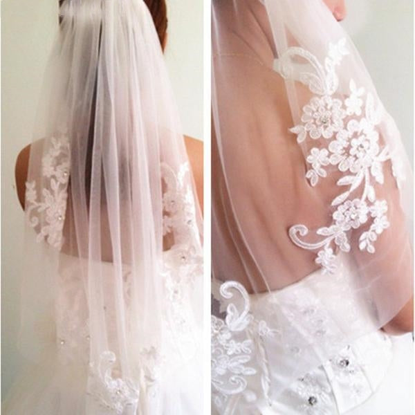 WAIST LENGTH, BEADED, DIAMANTE, APPLIQUE ONE LAYER VEIL. AVAILABLE IN IVORY OR WHITE. - weddingniknaks