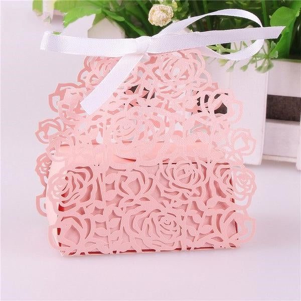 50 VINTAGE FLOWER LASER CUT WEDDING FAVOR/CANDY BOXES - weddingniknaks