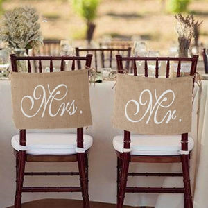RUSTIC CHAIR BANNERS WITH 'MR' AND 'MRS' - weddingniknaks