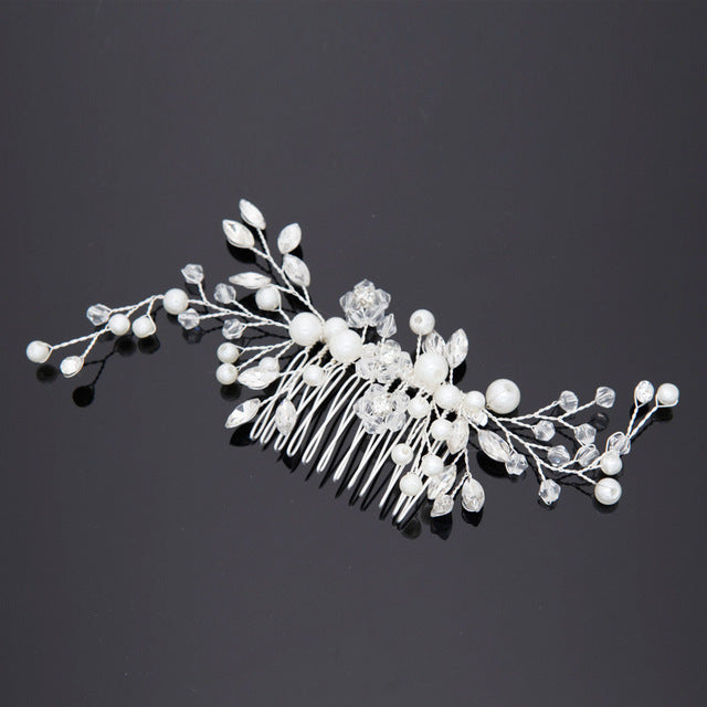 Pearl Hair Comb With Crystals.Default Title-weddingniknaks