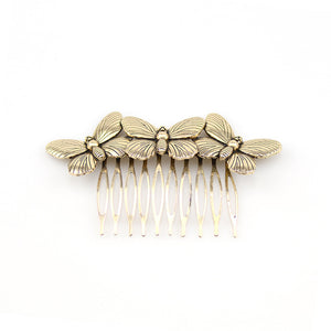 Hair comb with 3 Butterflies available in Gold or Silver colouredLight Yellow Gold Color-weddingniknaks