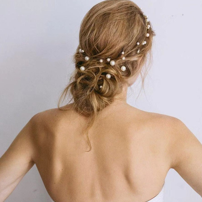 Pearl Hair Beads on a hair grip. Comes in a set of seven. - weddingniknaks