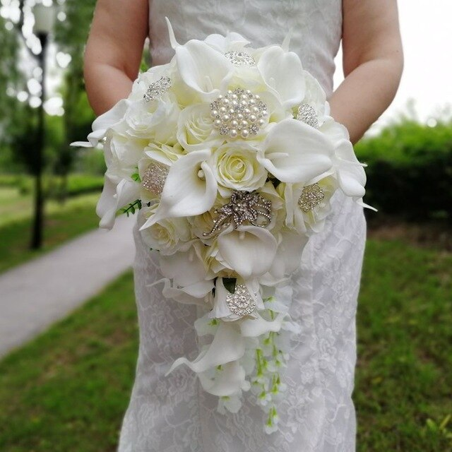 Waterfall Ivory Wedding Bouquet With Artificial Pearls And CrystalsDefault Title-weddingniknaks