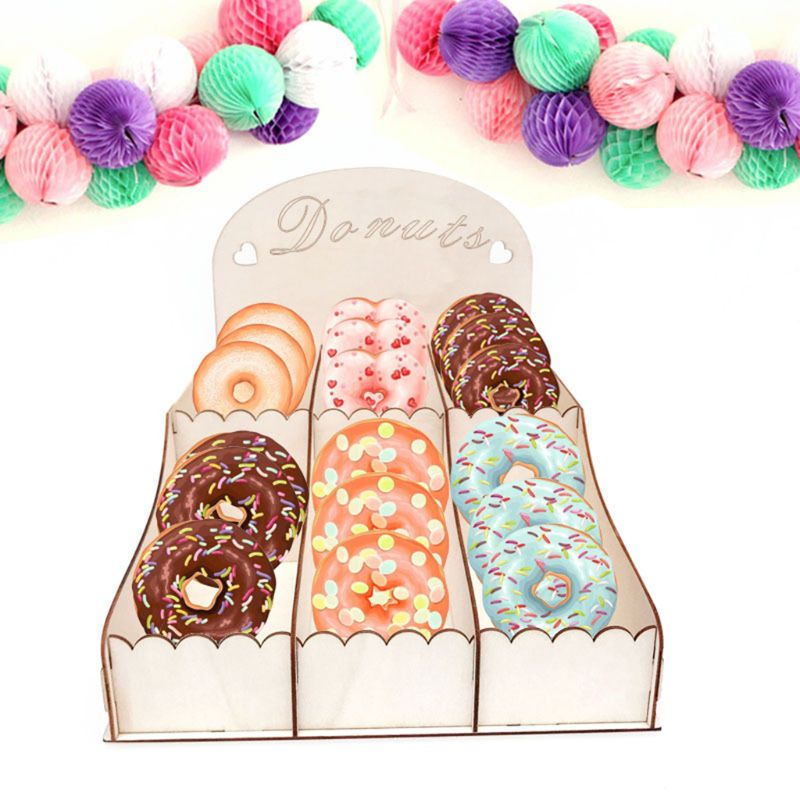 Donut Tray, 6 Cells and Wooden - weddingniknaks