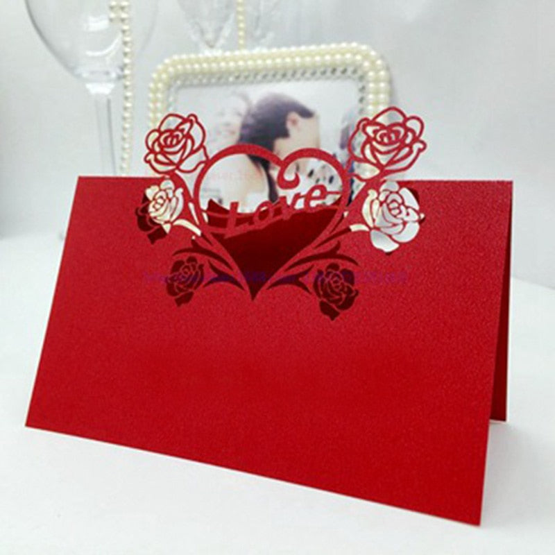 100 Laser Cut Red Heart And Flowers Place Card/Table Numbering/Name Cards - weddingniknaks