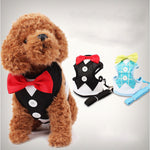 Waistcoat and Bow Tie/Tuxedo  Harness Vest For Small Dogs. Choice of 2 Colours.-weddingniknaks