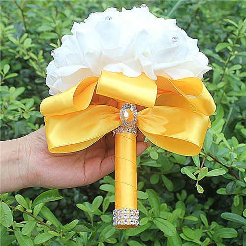 Rose and Ribbon Bouquet available in 14 colours with Rhinestone Jewels on StemsGold yellow D-weddingniknaks